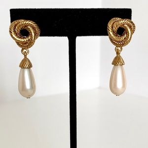 Vintage Gold Knot and Pearl Drop Earrings